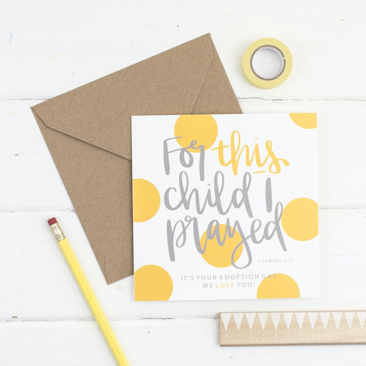 For This Child I Prayed - Adoption Card - 1 Samuel 1:27 - Hope and Ginger