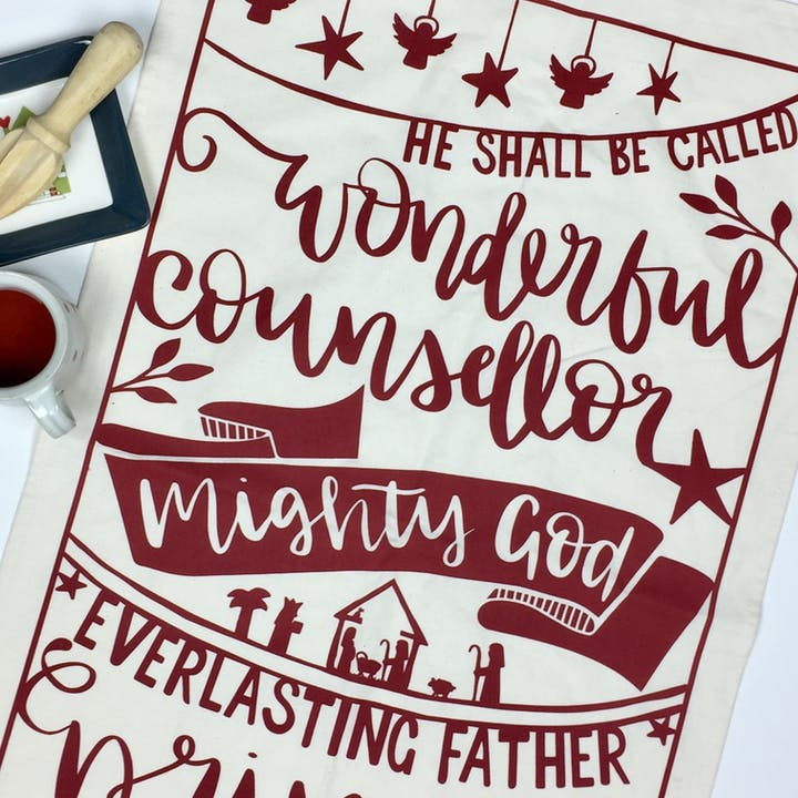 He Shall Be Called Christmas Tea Towel - Isaiah 9:6 - FREE UK SHIPPING - Hope and Ginger