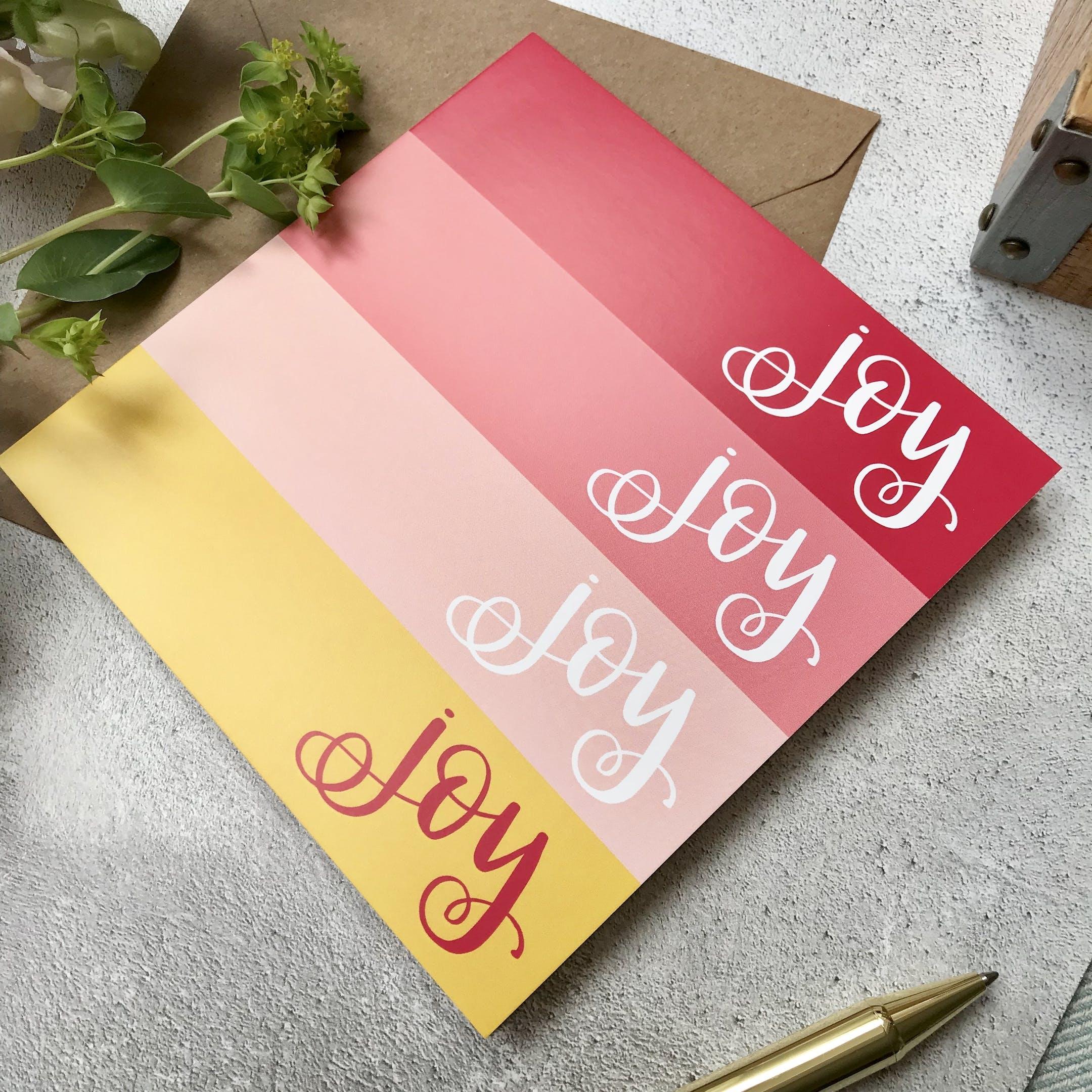 Hope and Ginger Card - Joy Joy Joy Joy - Pink