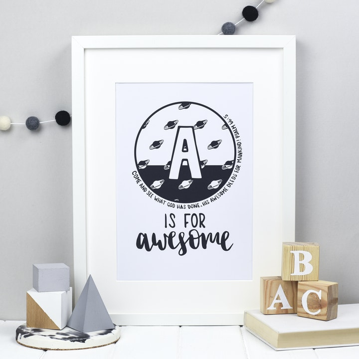 Letter A - Bible Alphabet Print - Psalm 66:5 - Hope and Ginger