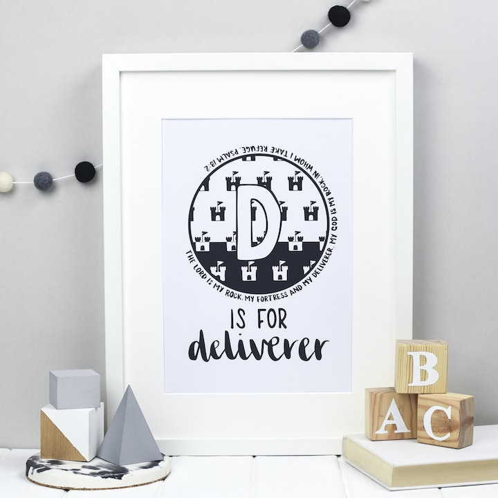 Letter D - Bible Alphabet Print - Psalm 18:2 - Hope and Ginger