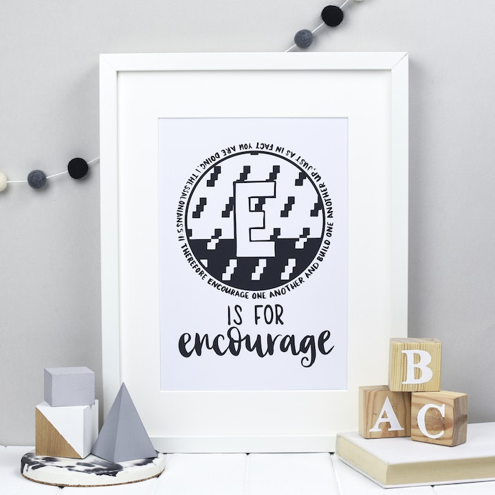 Letter E - Bible Alphabet Print - 1 Thessalonians 5:11 - Hope and Ginger