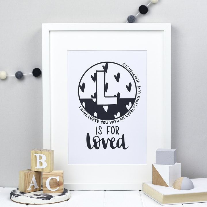 Letter L - Bible Alphabet Print - Jeremiah 31:3 - Hope and Ginger