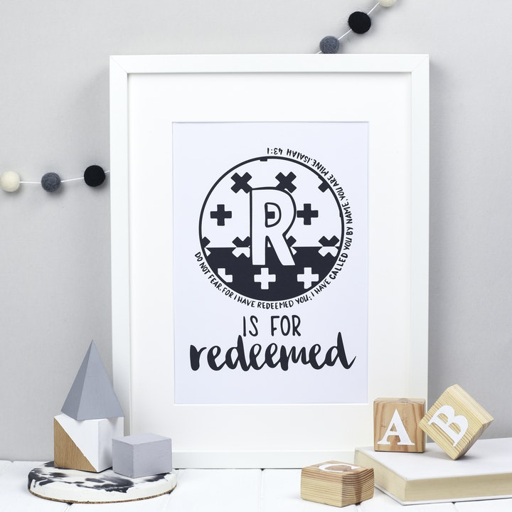 Letter R - Bible Alphabet Print - Isaiah 43:1 - Hope and Ginger