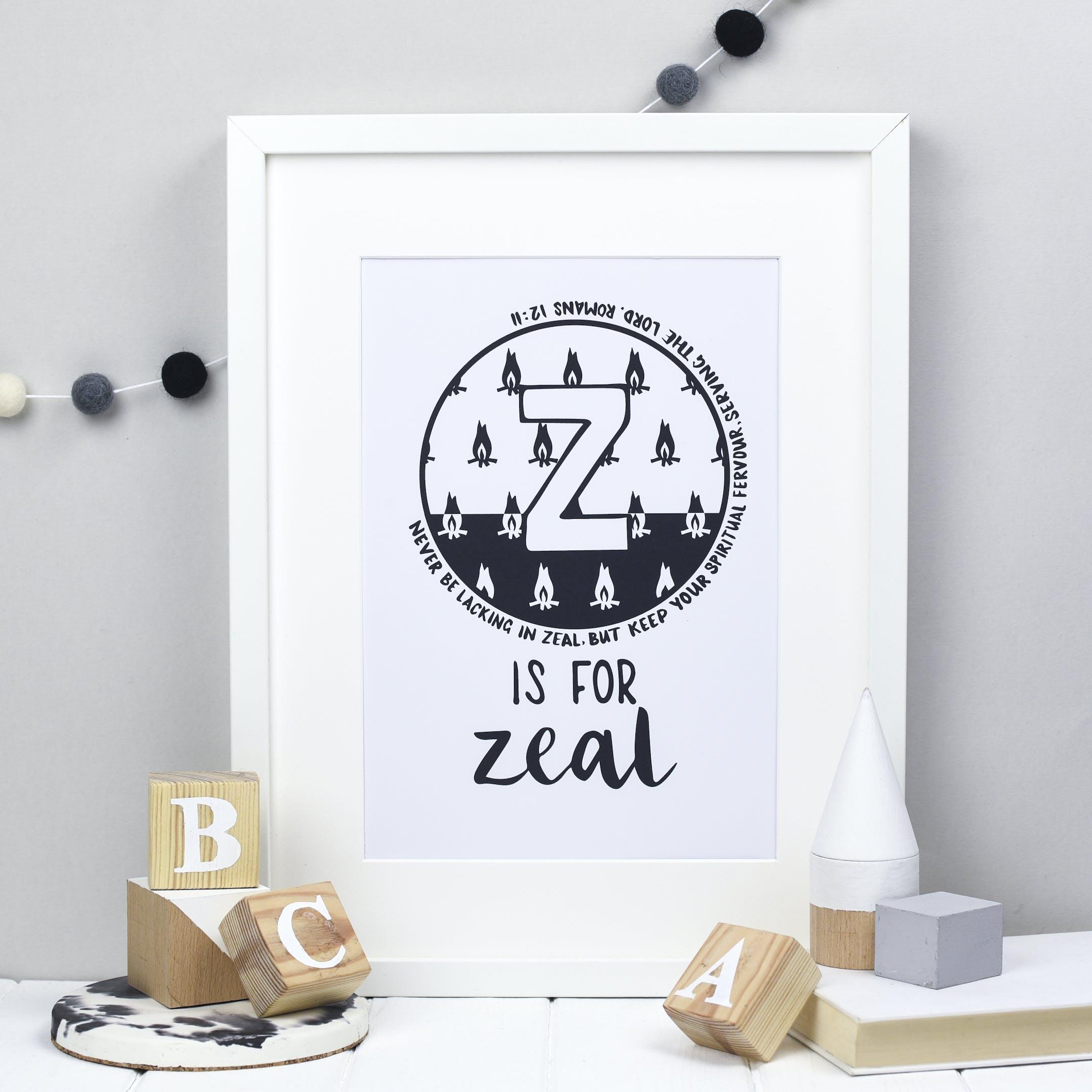 Letter Z - Bible Alphabet Print - Romans 12:11 - Hope and Ginger