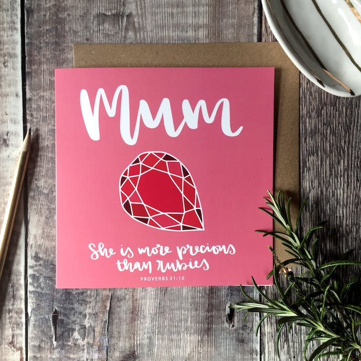 Mum - More Precious Than Rubies Card - Proverbs 31:10 - FREE UK SHIPPING - Hope and Ginger