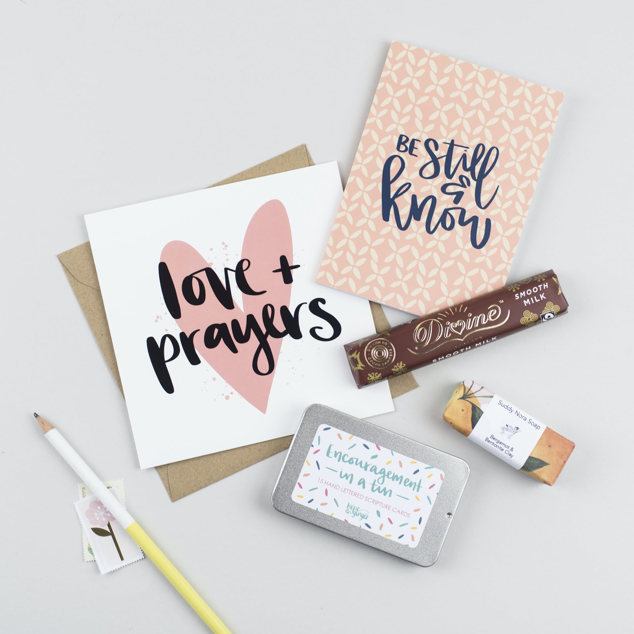 Flat lay of contents for Thinking Of You Box Bit Of Everything Hope and Ginger   Cheerfully Given - Christian Encouragement Gifts UK