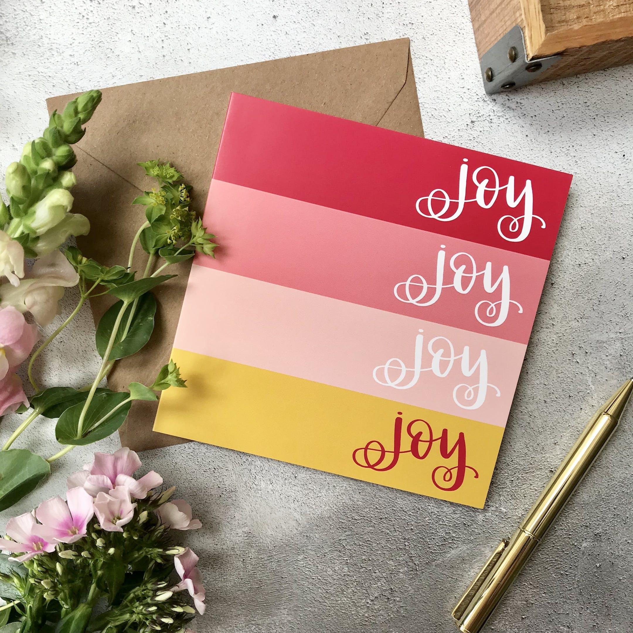 Yellow and Pink Joy Joy Joy Joy Card - Hope and Ginger