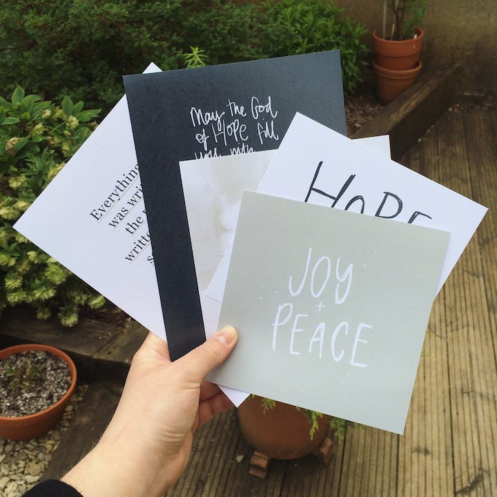 Four Scripture prints from May Ponder Project | Made by TheHope&GraceDesignCo. @ Cheerfully Given