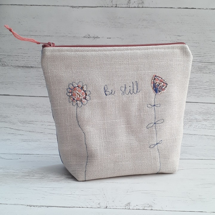 Be Still Christian Make Up Bag   Hanmade in Cornwall   Cheerfully Given - Christian Gifts UK