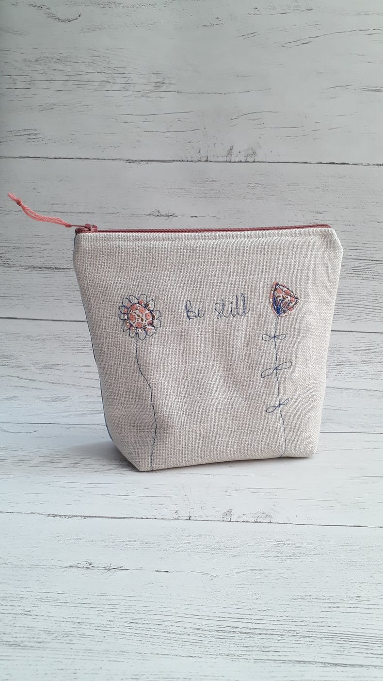 Be Still Christian Make Up Bag | Hanmade in Cornwall | Cheerfully Given - Christian Gifts UK