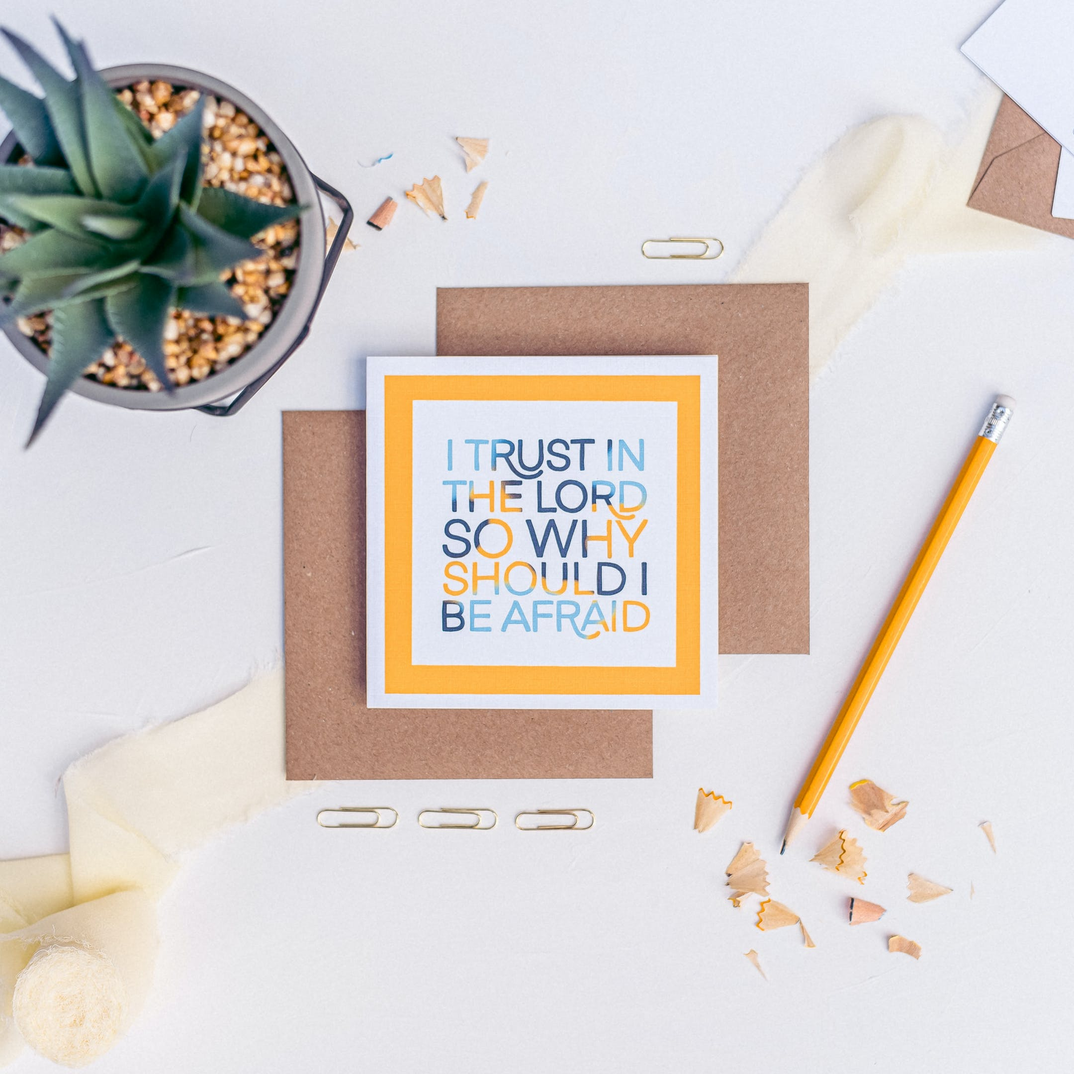 I Trust in the Lord so why should I be afraid yellow and blue Christian Card by Handmade Marks at Cheerfully Given