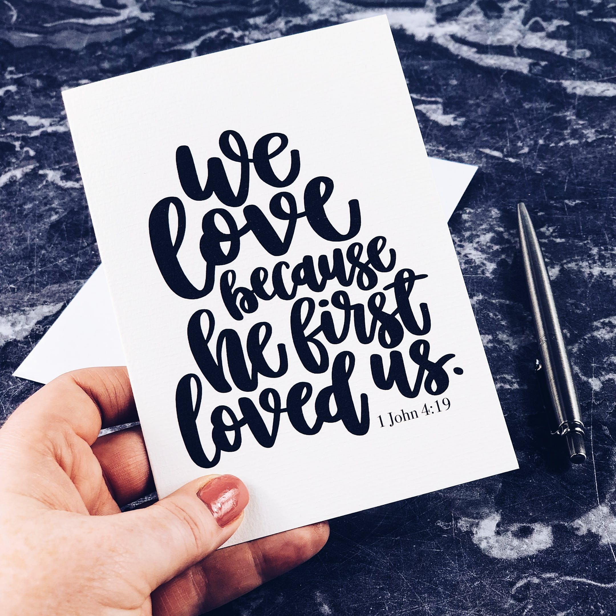 1 John 4:19 - We Love Because - Izzy and Pop Card