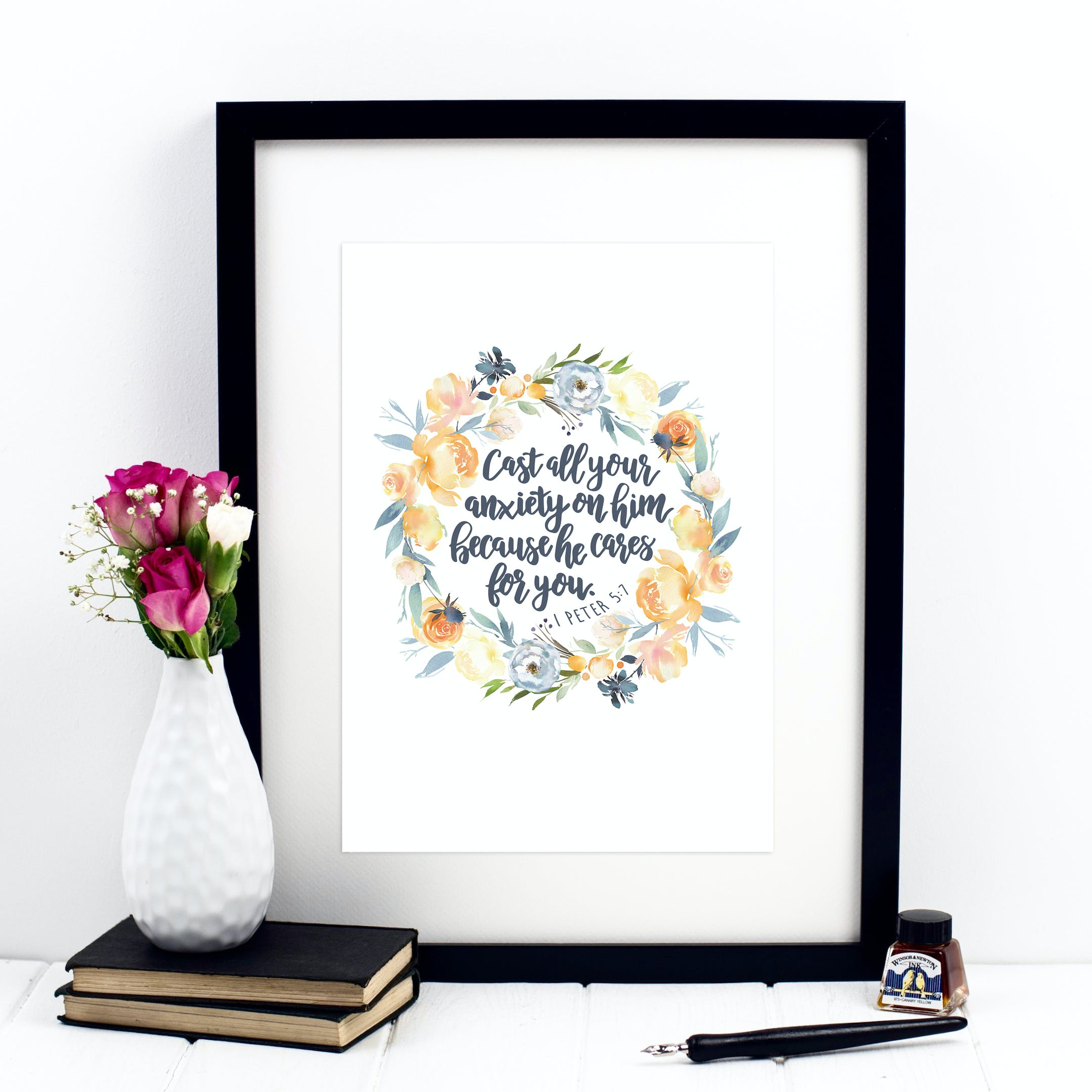 1 Peter 5:7 Wreath Print - Cast All Your Anxiety - Izzy and Pop