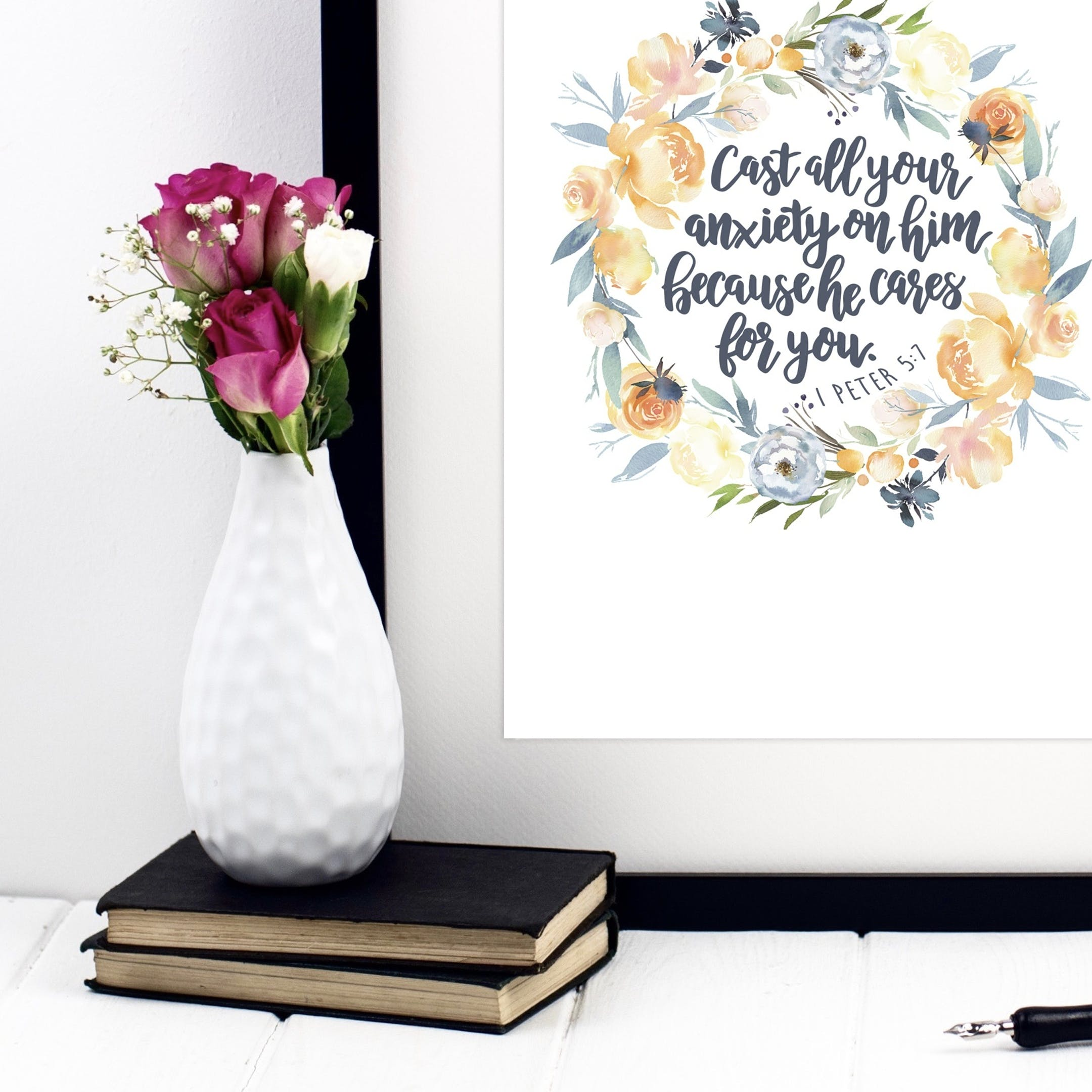 1 Peter 5:7 Wreath Print - Cast All Your Anxiety On Him - Izzy and Pop