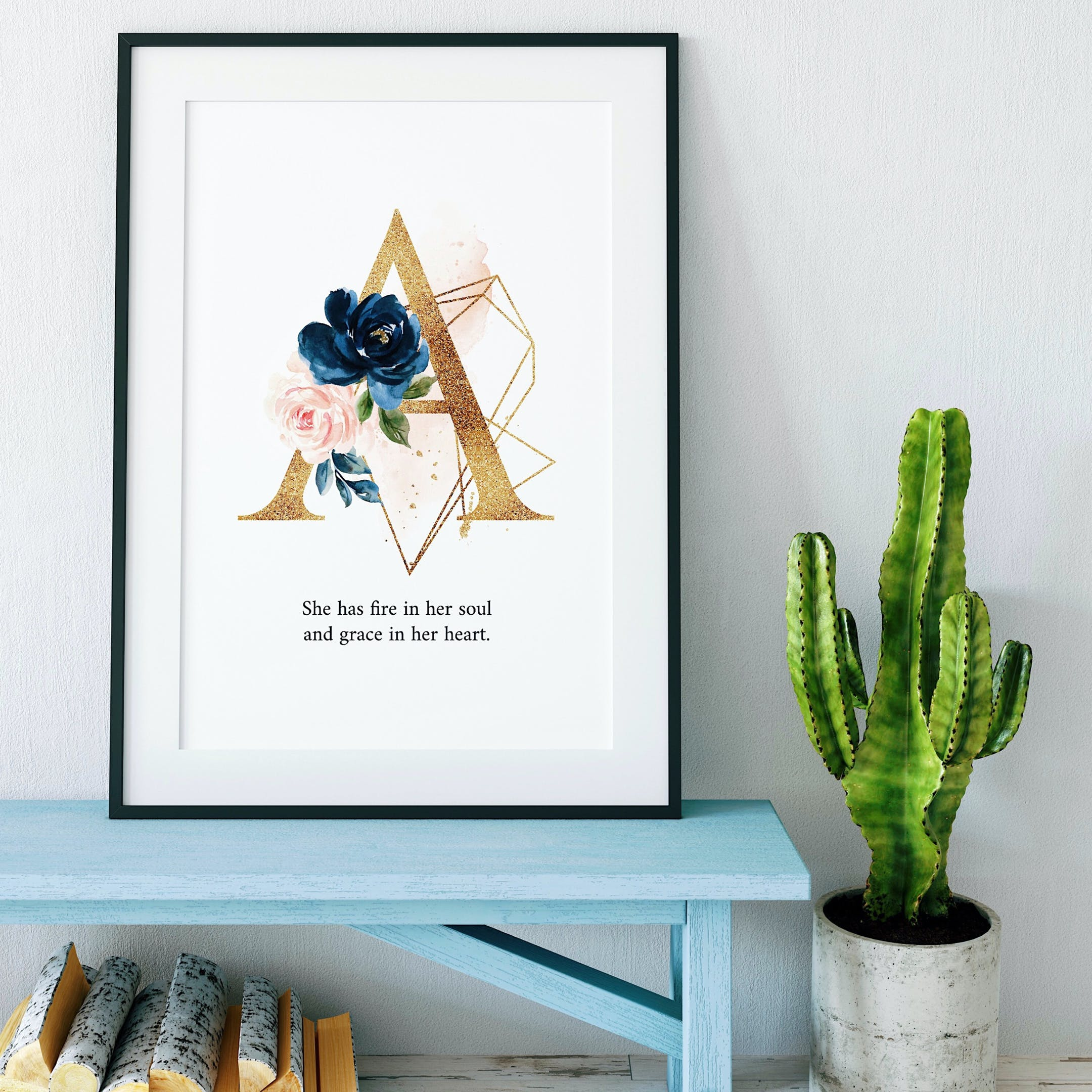 A She Has Fire In Her Soul And Grace In Her Heart Personalised Print - Izzy & Pop