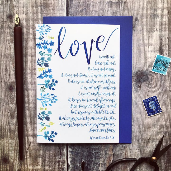 A6 Blue Floral Love Is Patient card - 1 Corinthians 13:4-8 - Izzy and Pop
