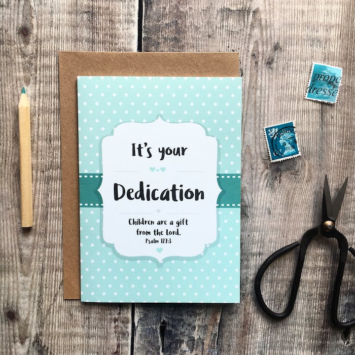 A6 Dedication Card - Psalm 127:3 - Izzy and Pop