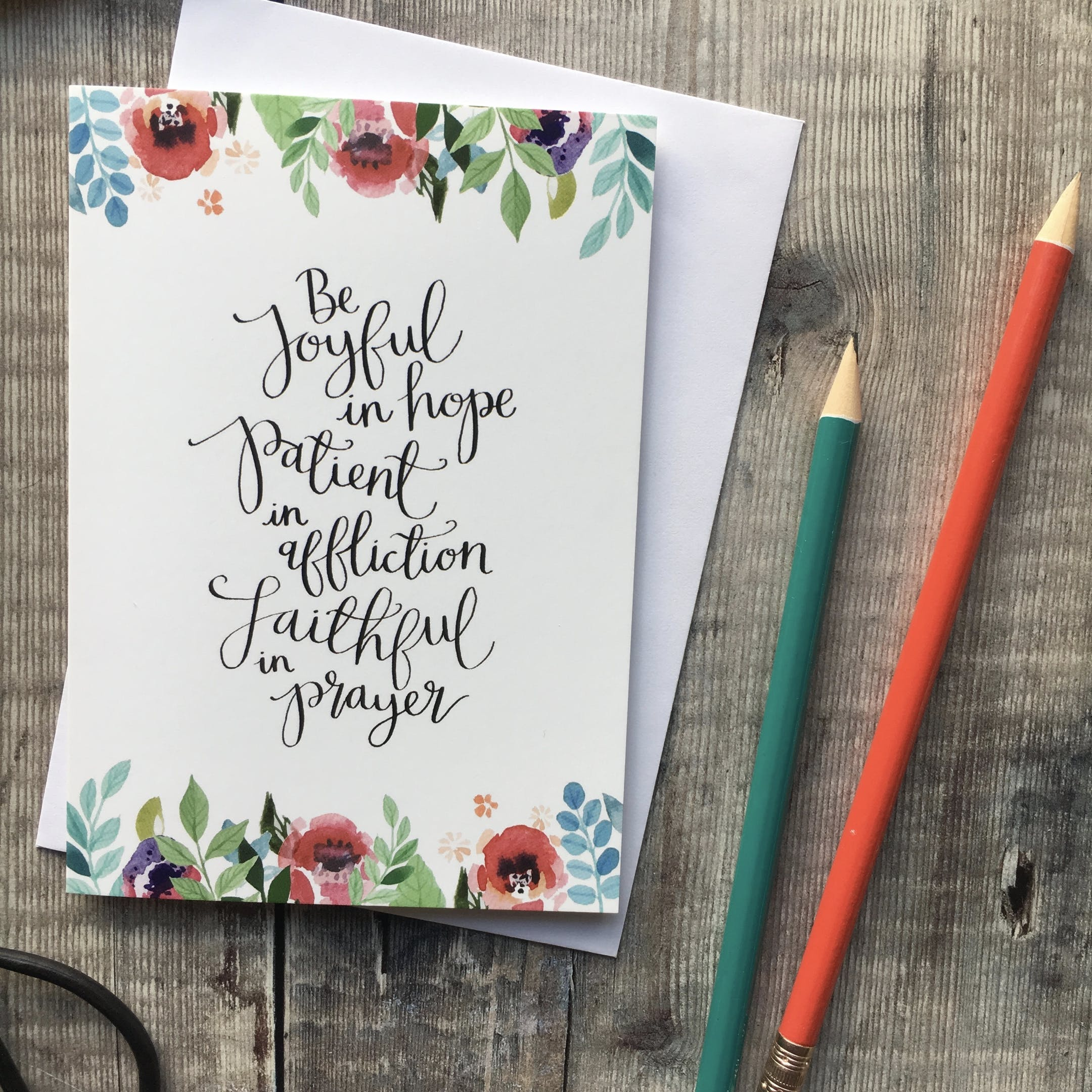 A6 Floral Be Joyful in Hope Card - Romans 12:12 - Izzy and Pop
