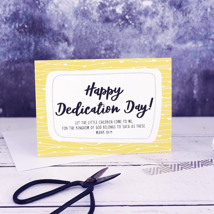 A6 Happy Dedication Day! Card - Mark 10:14 - Izzy and Pop