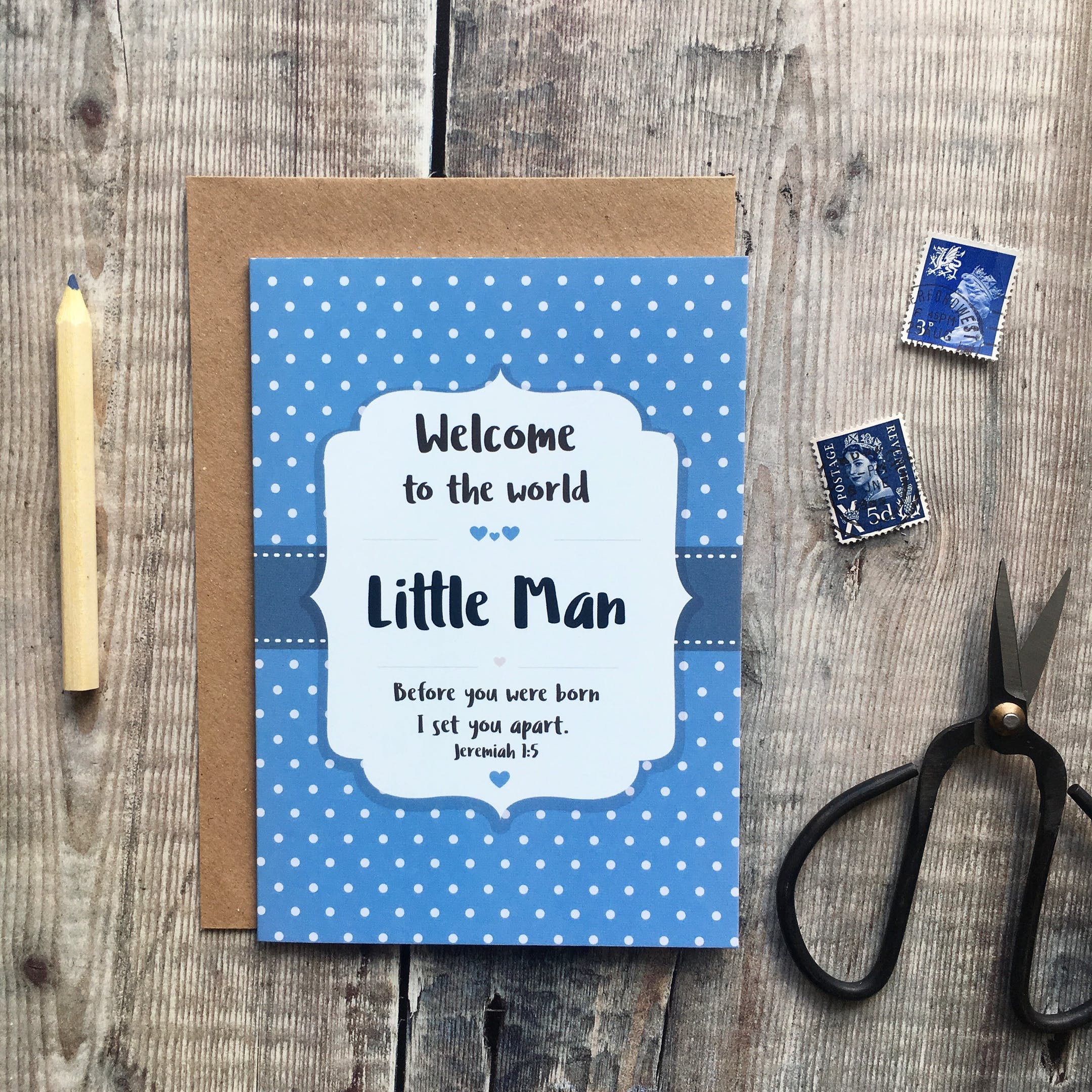 A6 Little Man Card - Jeremiah 1:5 - Izzy and Pop