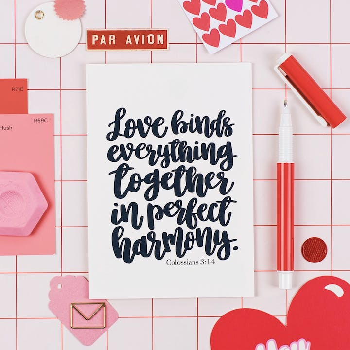 A6 Love Binds Everything Together Card - Colossians 3:14 - Izzy and Pop
