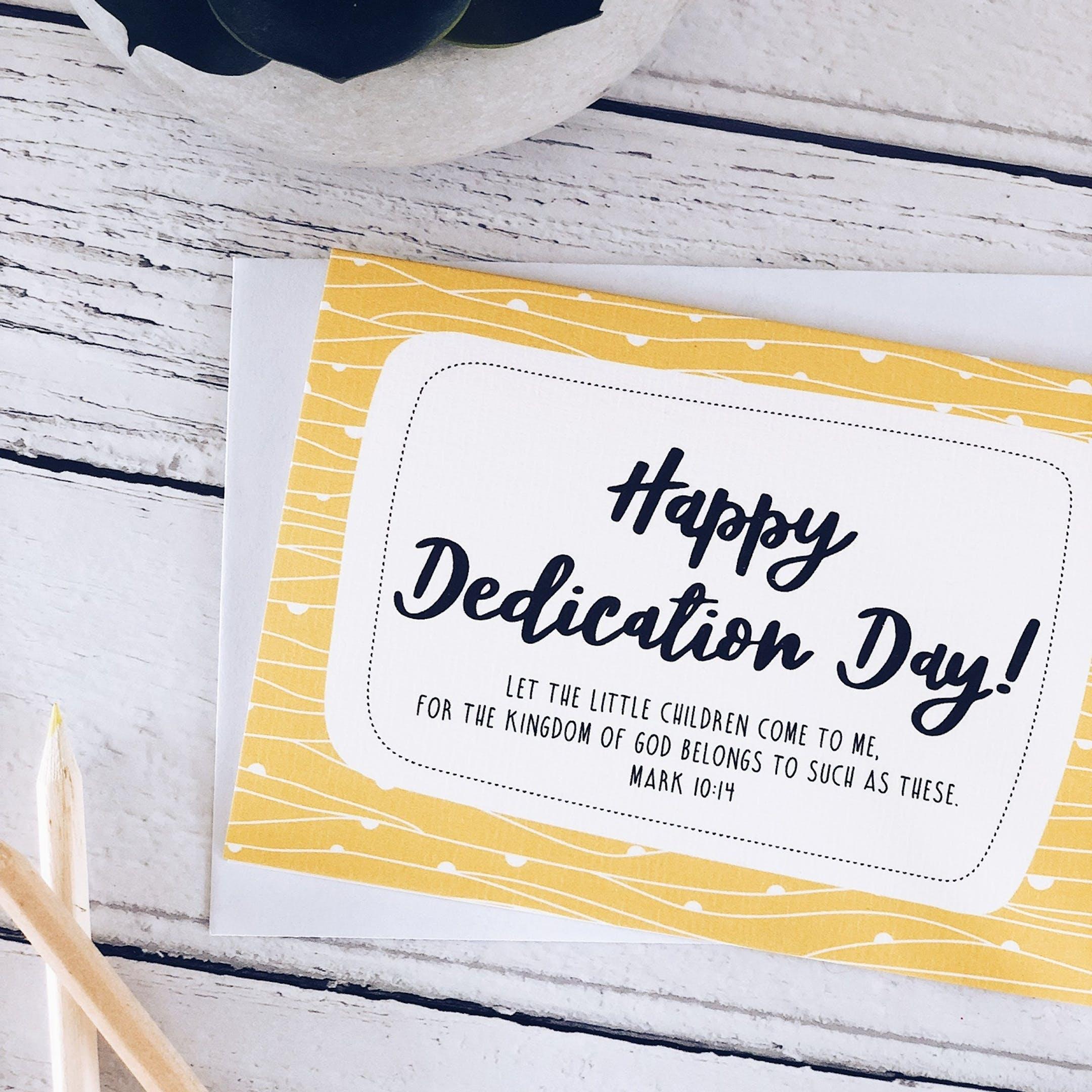 A6 Mark 10:14 Dedication Card - Izzy and Pop