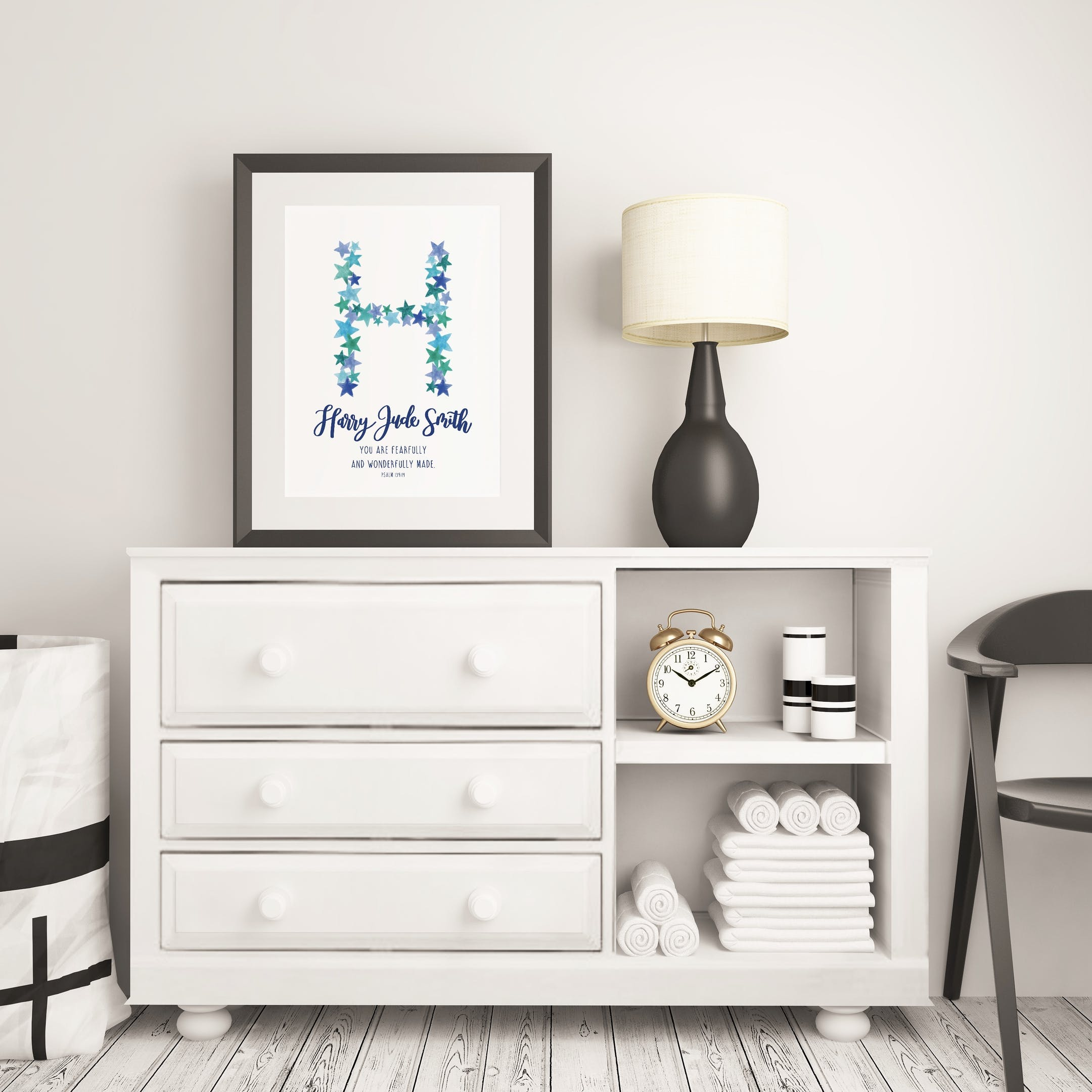 Baby Boy Name Print - Personalised Psalm 139:14 - Izzy and Pop