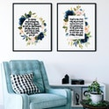 Be Strong And Courageous And Trust In The Lord Floral Print Set Of 2 - Izzy & Pop