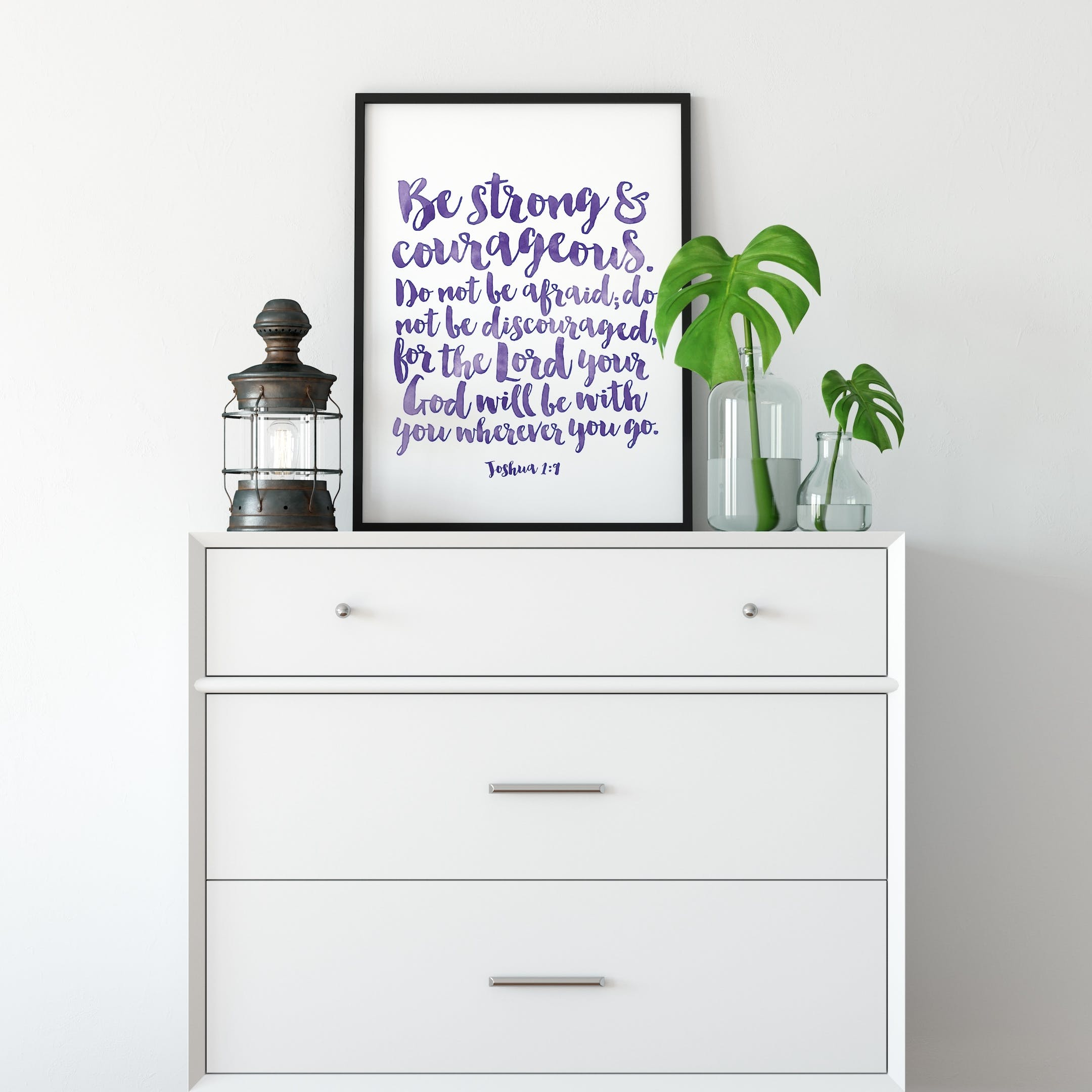 Be Strong And Courageous - Joshua 1:9 Print - Izzy and Pop