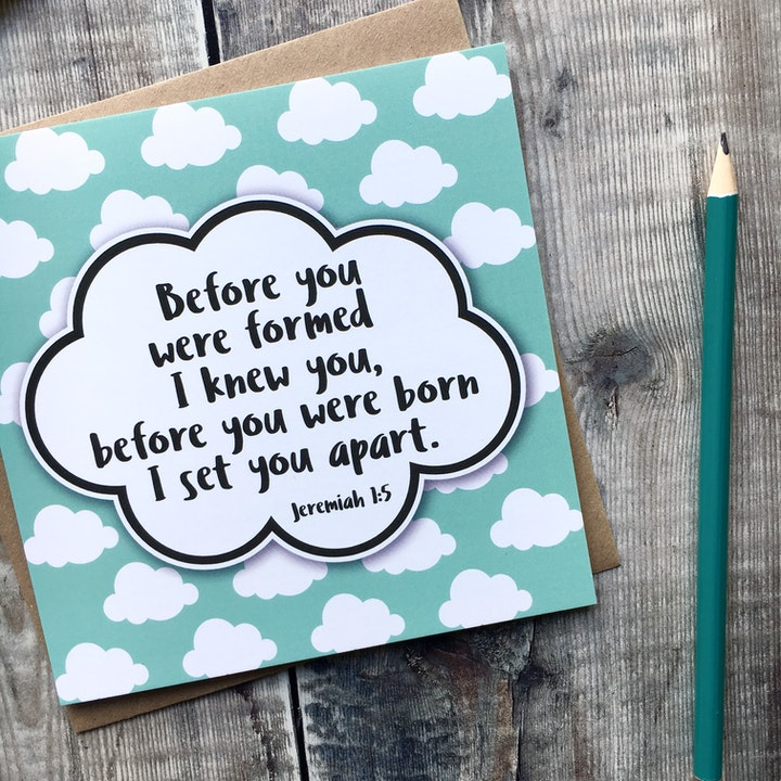Before You Were Formed, I Knew You Luxury Square Dedication Card - Jeremiah 1:5 - Izzy and Pop