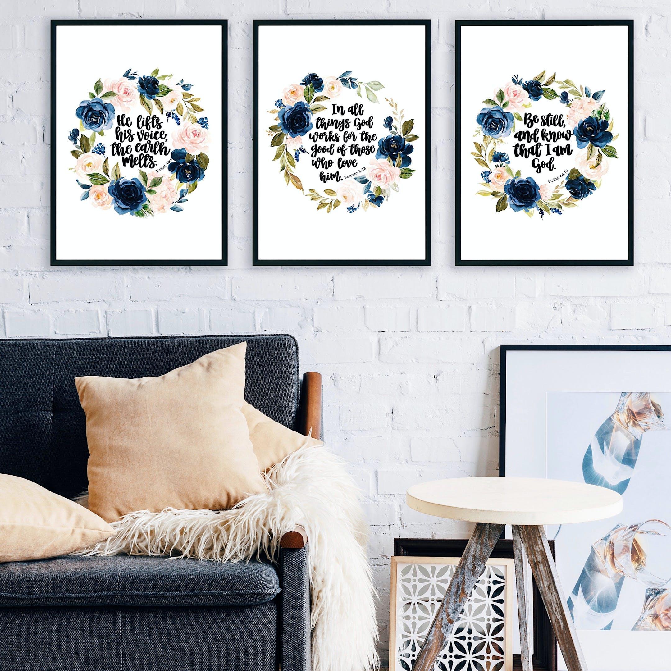 Bible Verse Print Set Of 3 - Floral Watercolour - Izzy & Pop