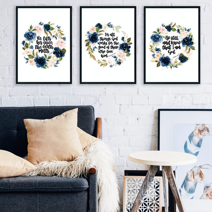 Bible Verse Print Set Of 3 - Floral Watercolour - Izzy & Pop