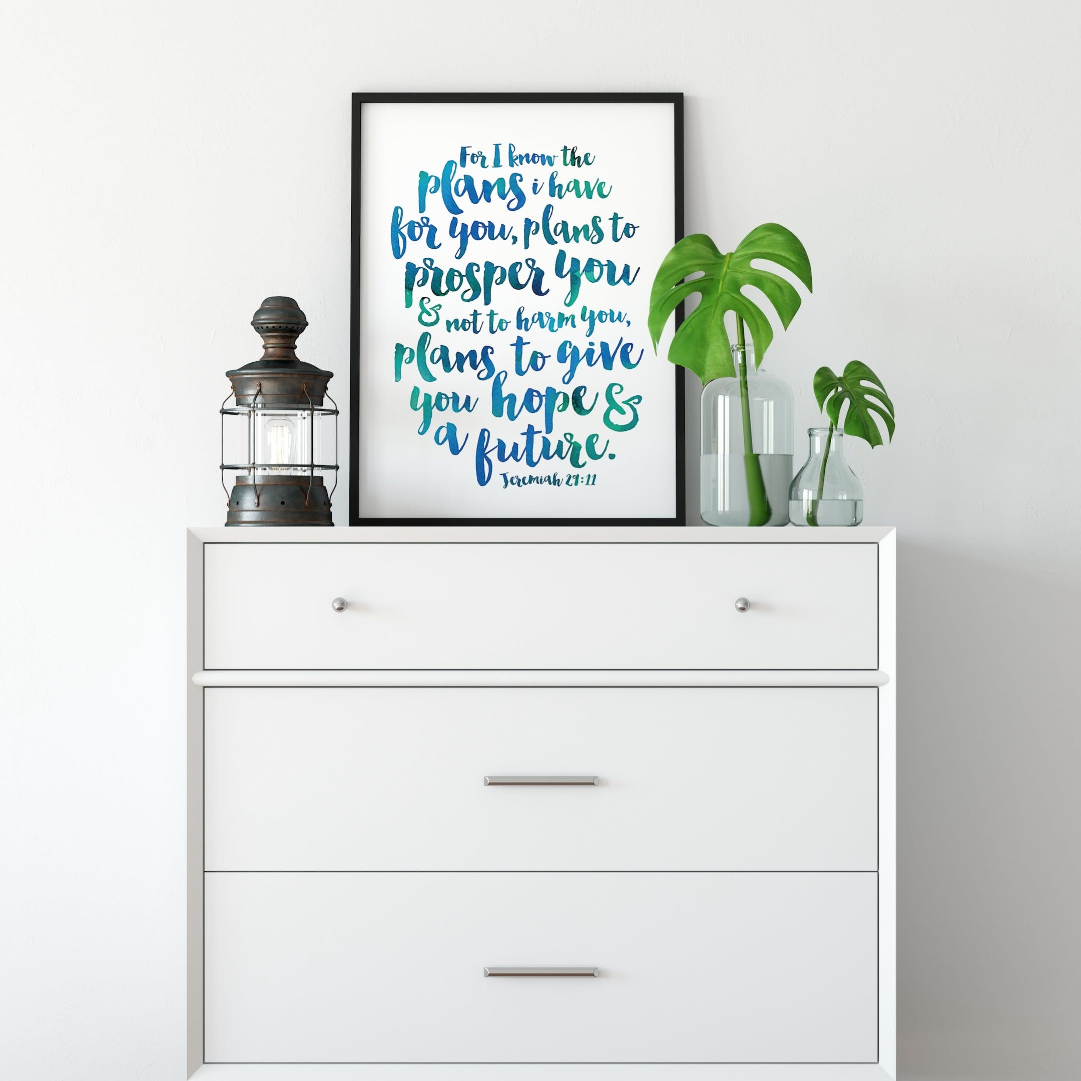 Blue-Green Wash - For I Know The Plans I Have For You Print 2 - Jeremiah 29:11 - Izzy and Pop