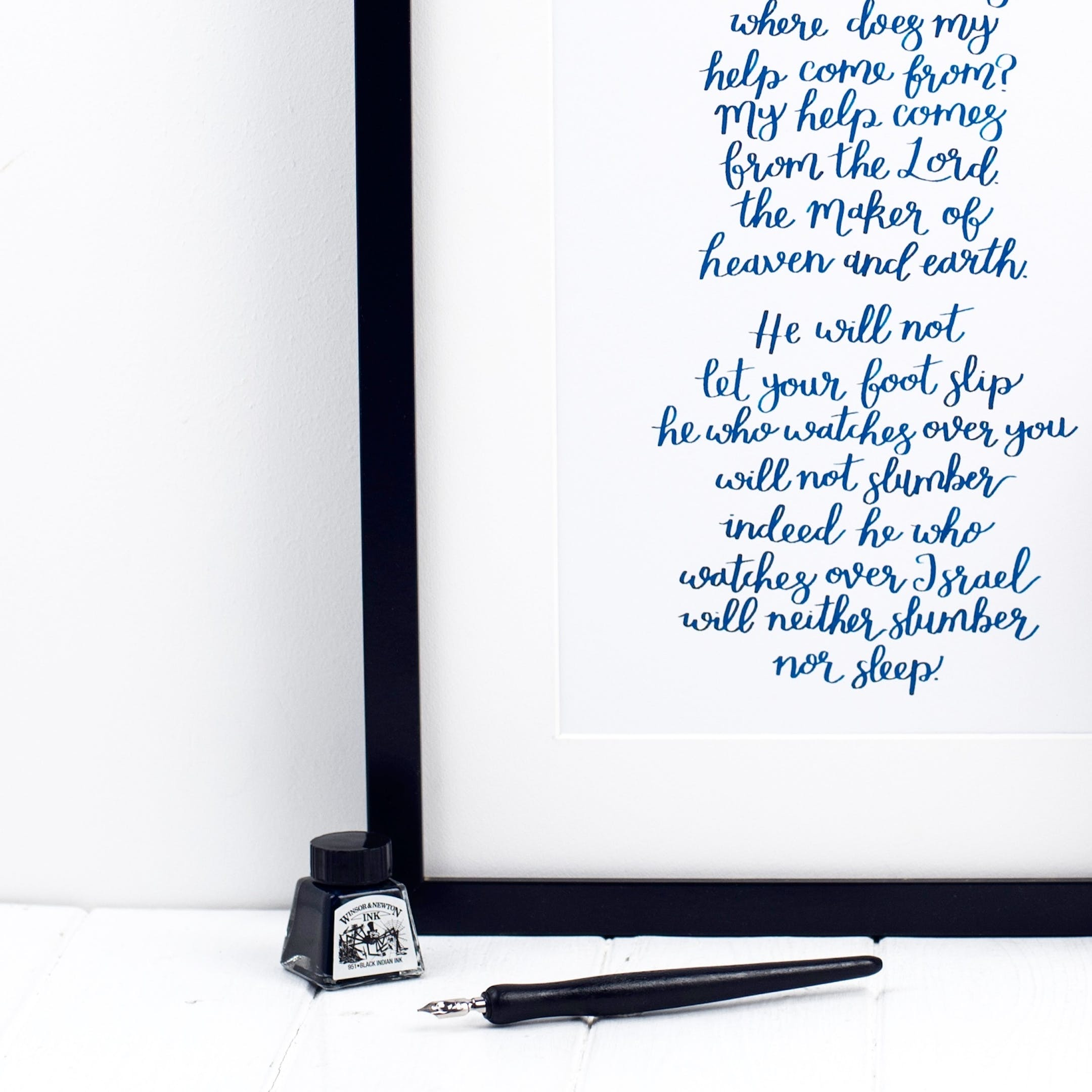 Blue Ink Print - I Lift Up My Eyes To The Mountains Print - Psalm 121:1-4 - Izzy and Pop