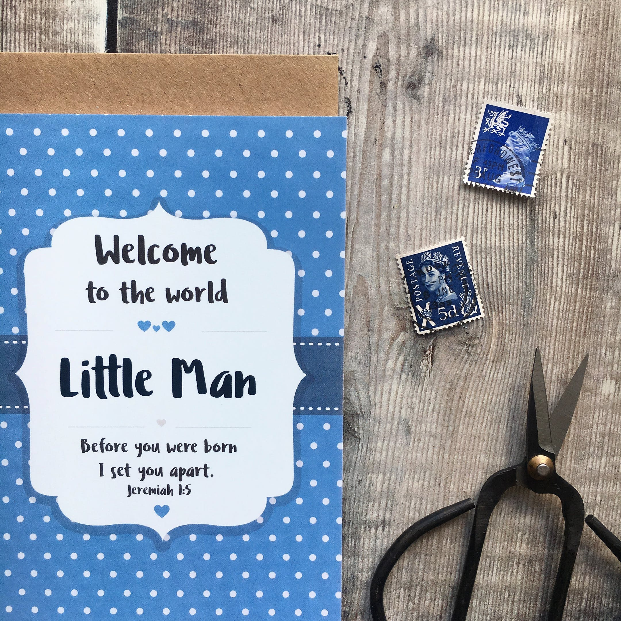 Blue Little Man Jeremiah 1:5 Card - Izzy and Pop