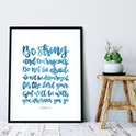 Blue Wash Be Strong And Courageous Calligraphy Print - Joshua 1:9 - Izzy & Pop