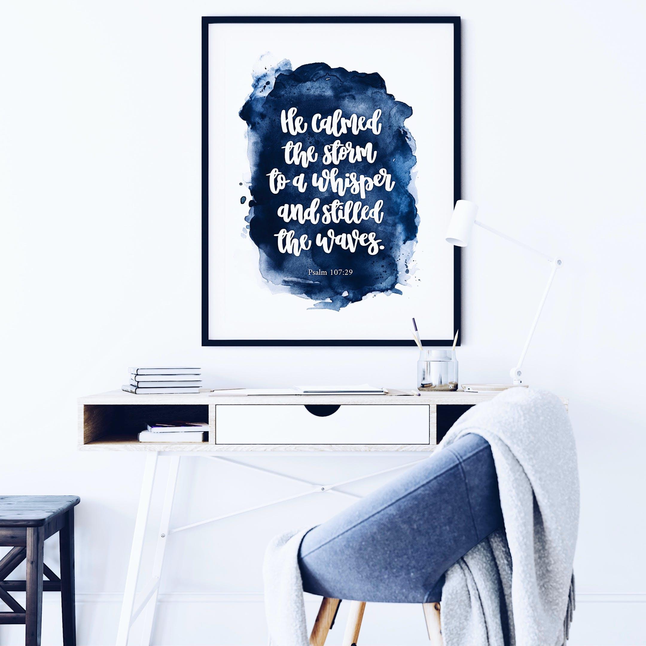Blue Watercolour Wash - Psalm 107:29 Print - Izzy & Pop
