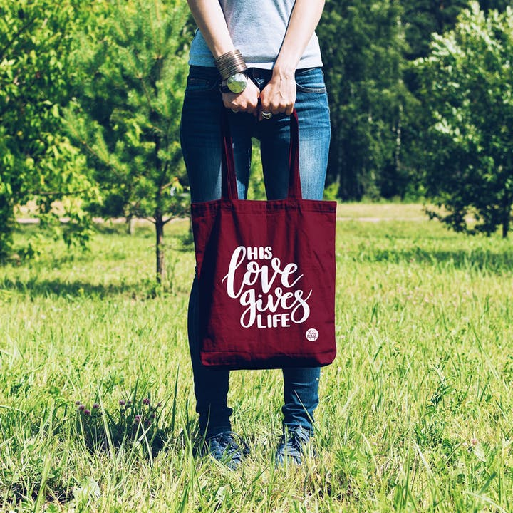 Burgundy His Love Gives Life Tote Bag - Izzy and Pop