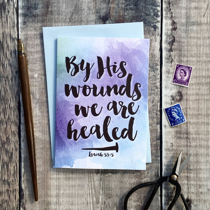 By His Wounds We Are Healed A6 Card - Isaiah 53:5 - Izzy and Pop