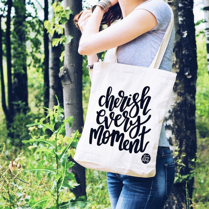 Cherish Every Moment Tote Bag - White - Izzy and Pop