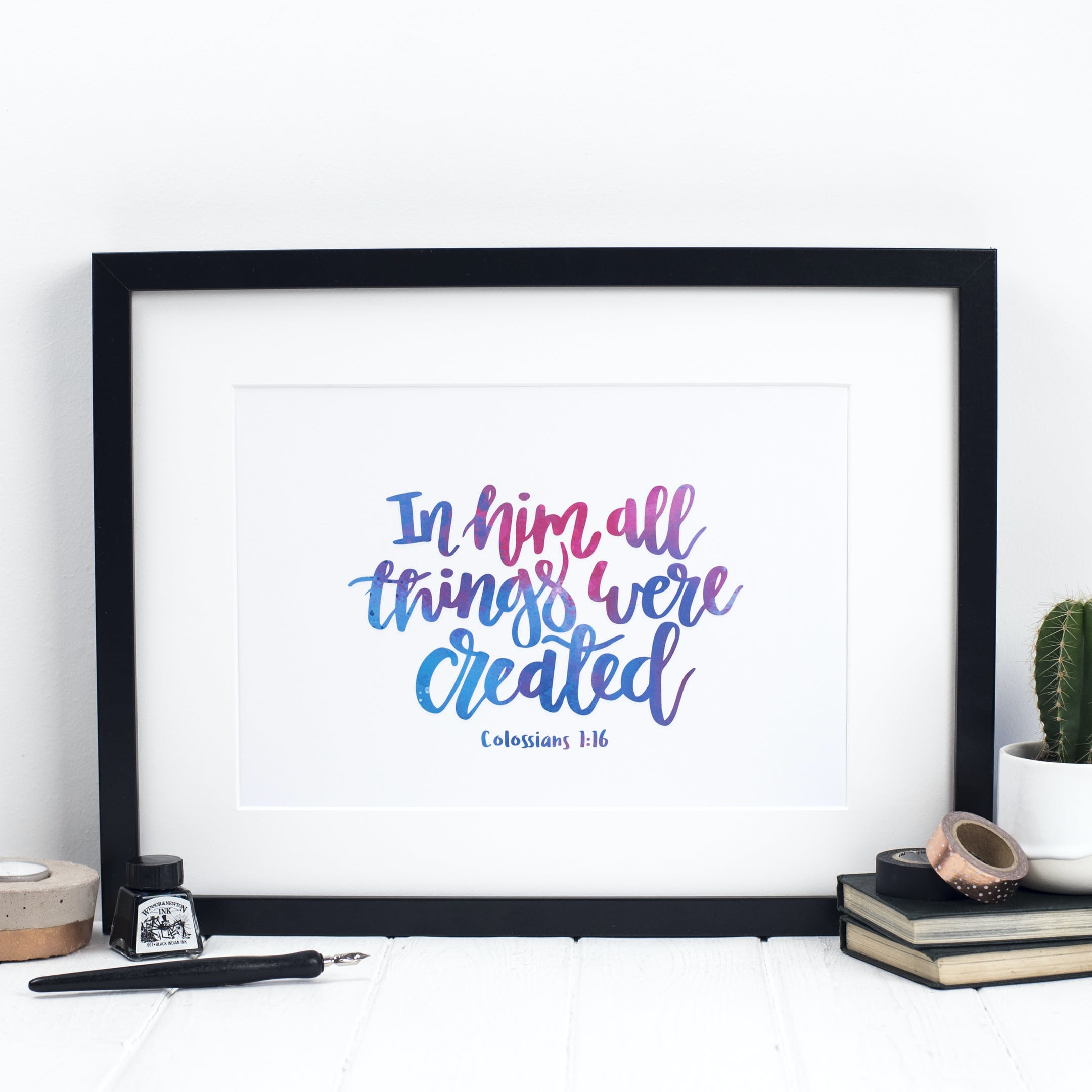 Colossians 1:16 Print - In Him All Things Were Created - Izzy and Pop