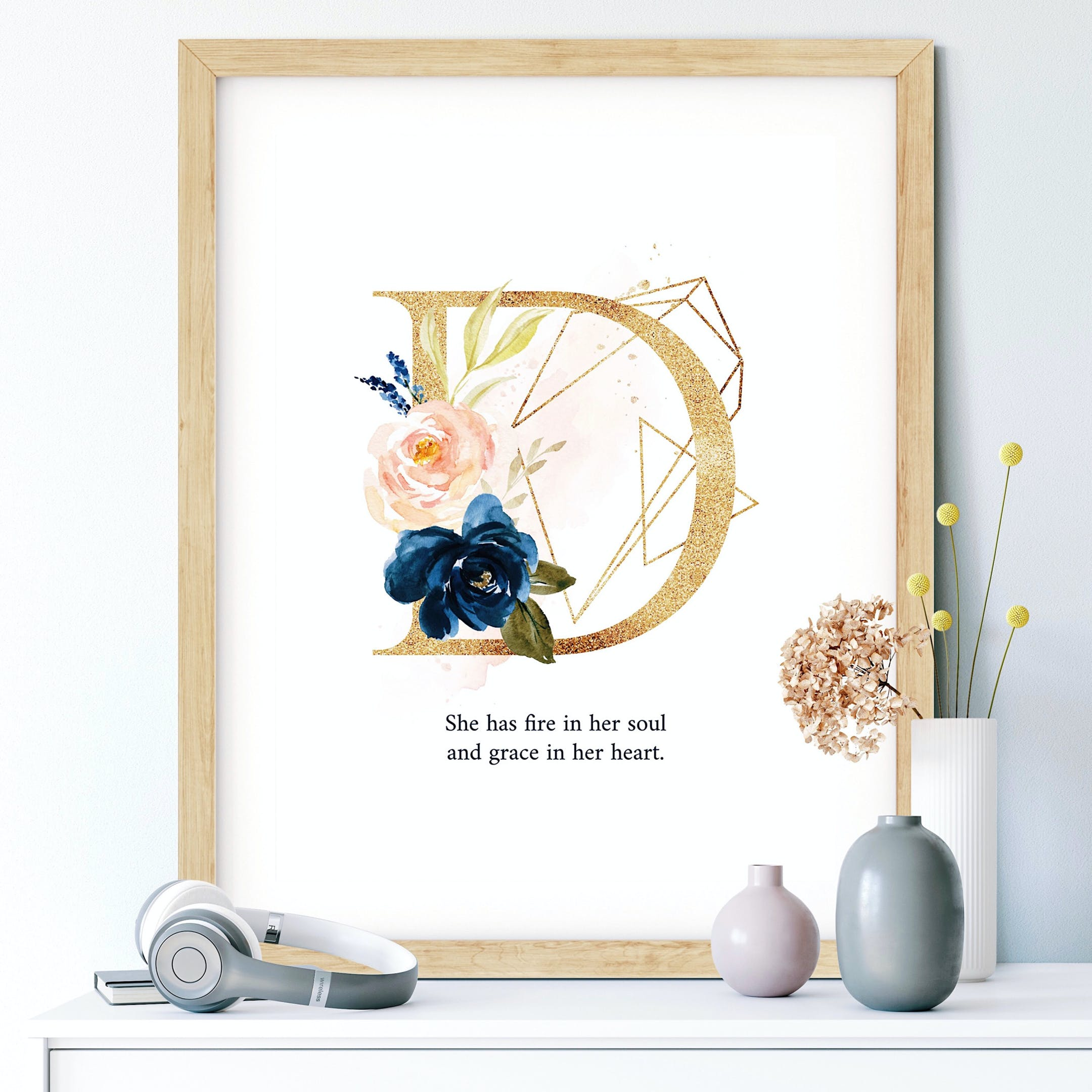 D She Has Fire In Her Soul And Grace In Her Heart Personalised Print - Izzy & Pop