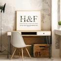 Desk Set Up of Personalised Wedding Print - 1 Corinthians 16:14 - Izzy & Pop