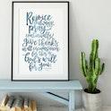 Dusky Blue - Rejoice Always Print - 1 Thessalonians 5:6-8a - Izzy and Pop