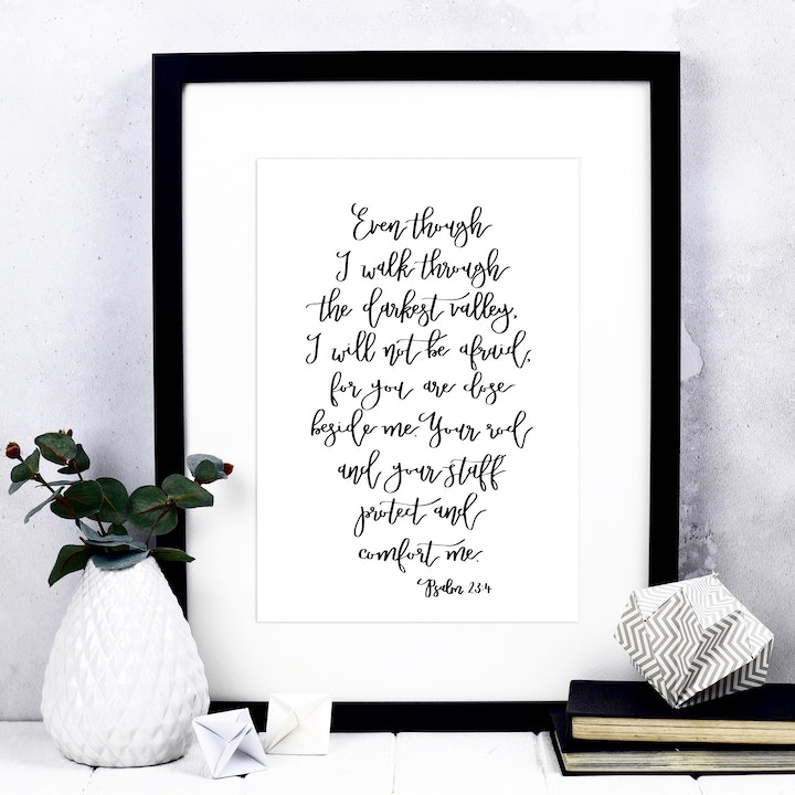 Even Though I Walk Print - Psalm 23:4 - Izzy and Pop