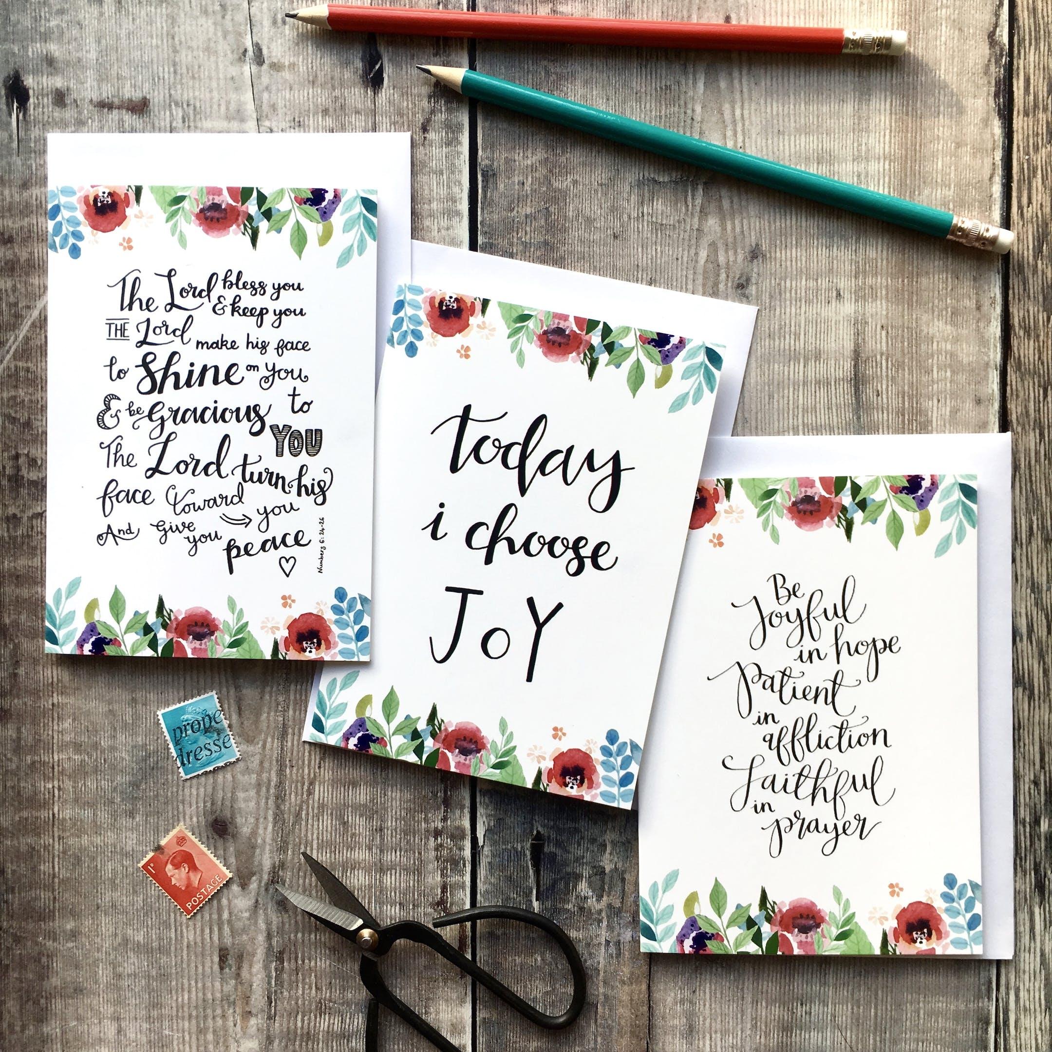 Floral Faith Encouragement Card Set of 6 - Izzy and Pop