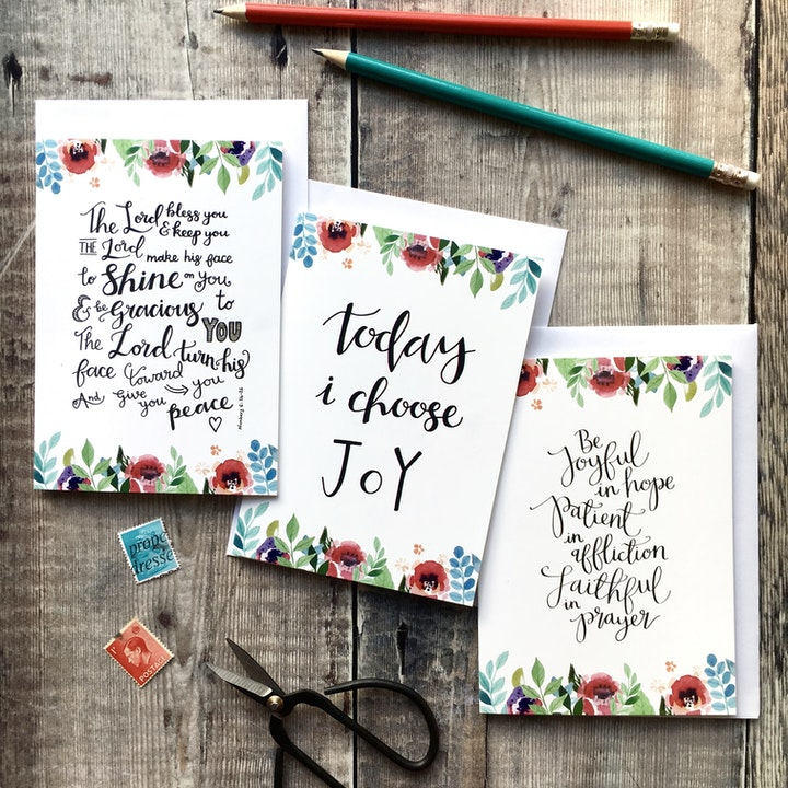 Floral Faith Encouragement Card Set of 6 - Izzy and Pop