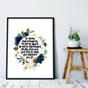 Floral Joshua 1:9 Print - Be Strong And Courageous - Izzy & Pop