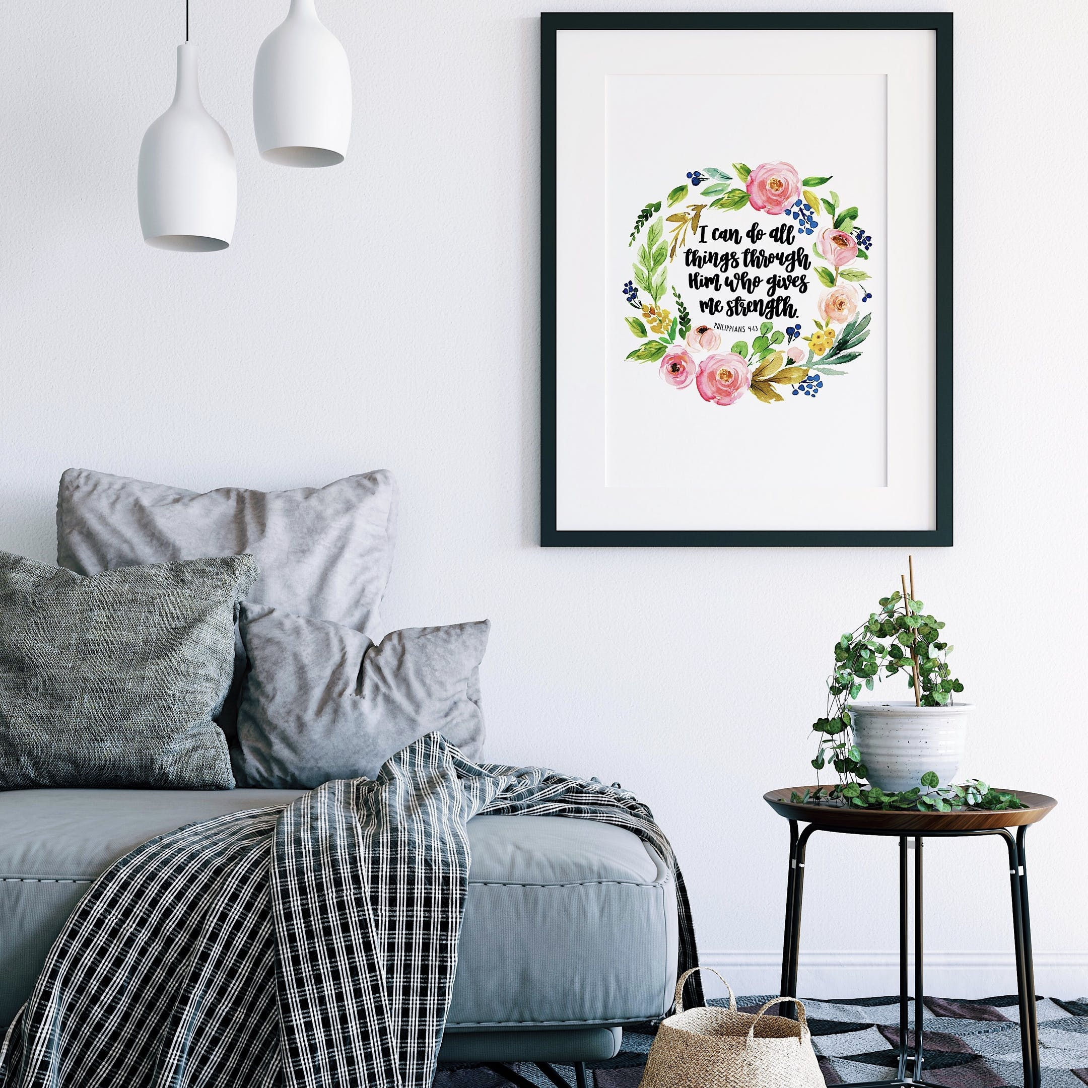 Floral Print - I Can Do All Things - Philippians 4:13 - Izzy and Pop